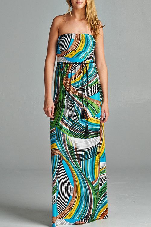 Turquoise & Mustard Maxi Dress