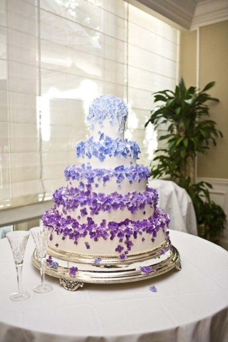 Beautiful Cake Pictures Cascading Purple Blue Little Flowers Wedding