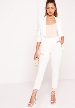 Button Detail Cigarette Trousers Suit White | lifestyle ...