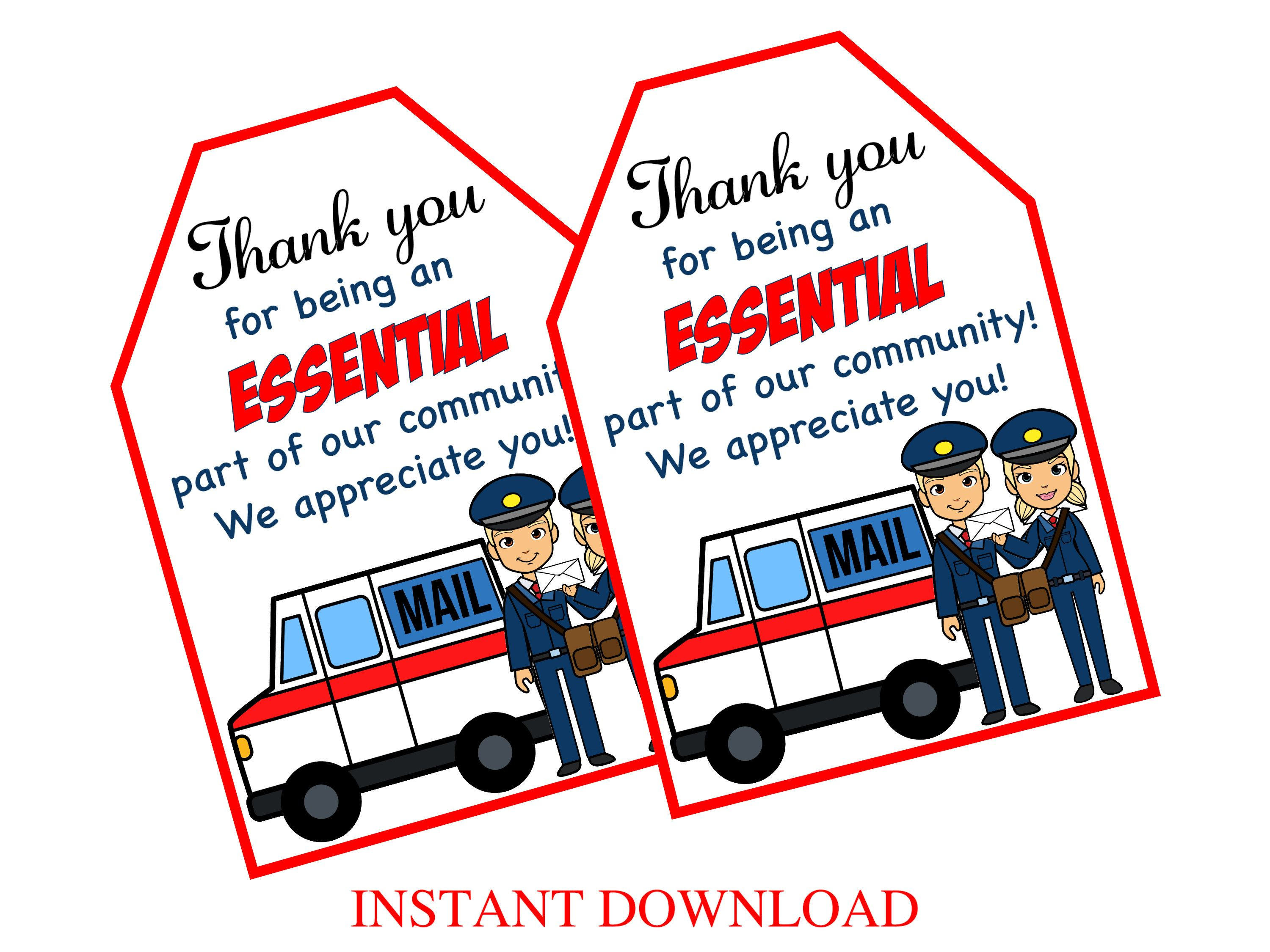 Funny Ornament for Postal Worker Mailman Mail Carrier Thank You Essential Worke