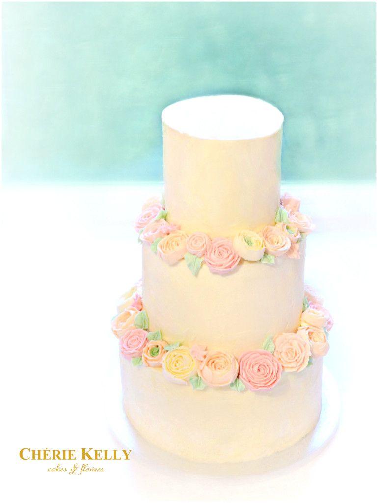 Pastel buttercream flowers wedding cake Cherie Kelly London