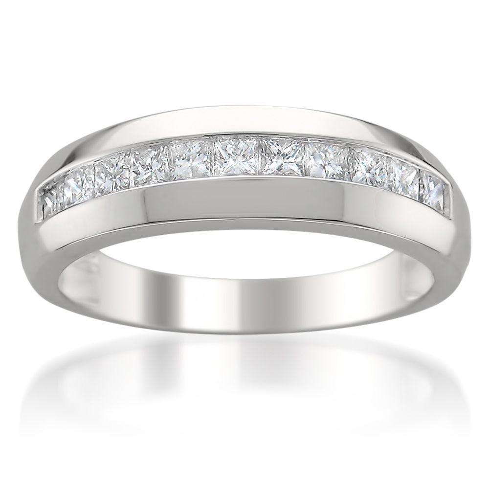 Men's 14k White Gold 1ct TDW Diamond Wedding Band (H-I, SI2-I1) | Overstock.com