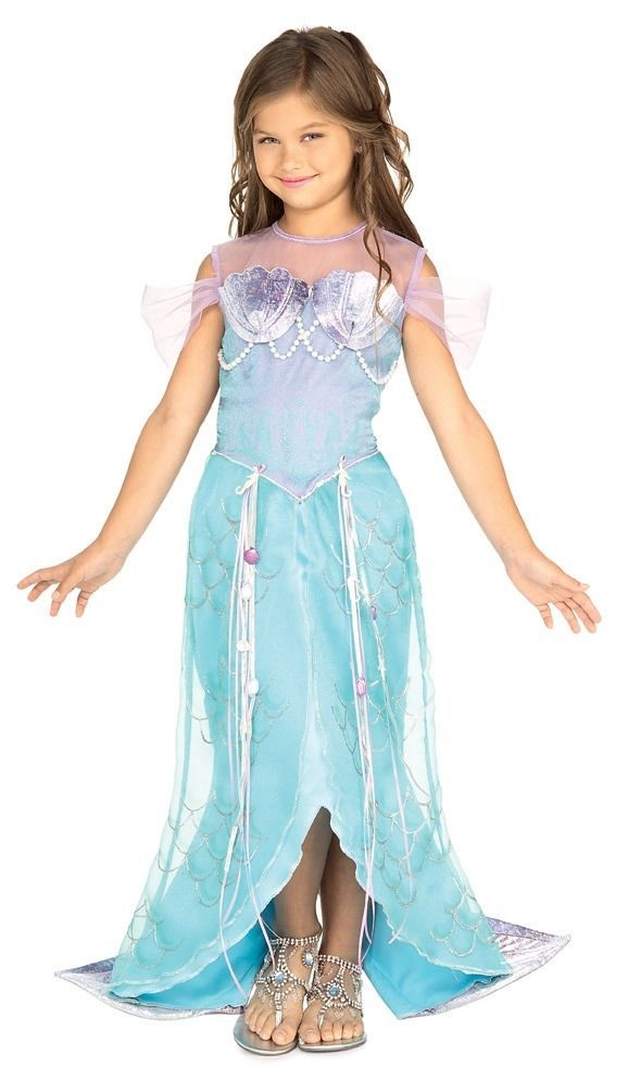 Girls MAGICAL MERMAID Costume Fancy Dress Ariel Blue Fish Sea Little Child Kids