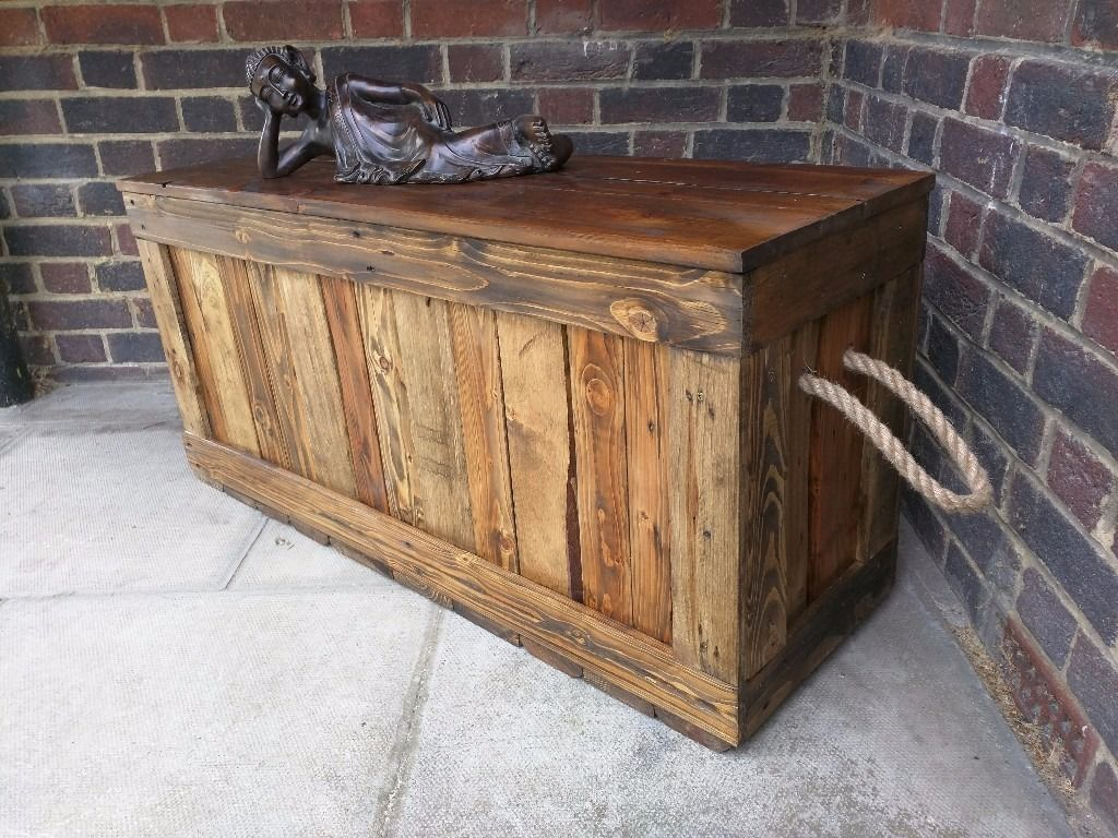 Rustic Trunk Bench Storage Chest Casket Ottoman Seat Handcrafted