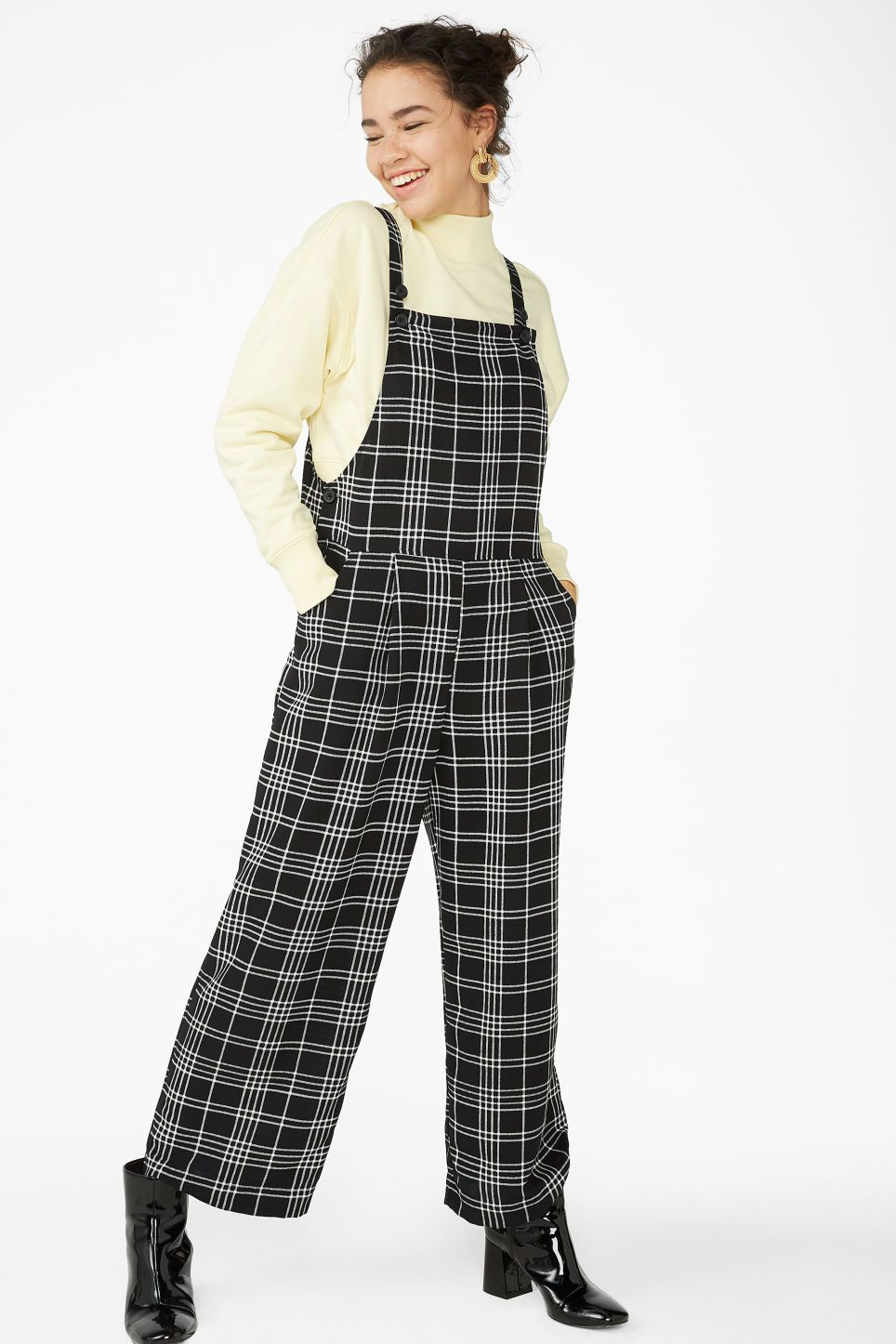 1dd0b43d55c Wide leg dungarees - Black and white checks - Jumpsuits in 2019 ...