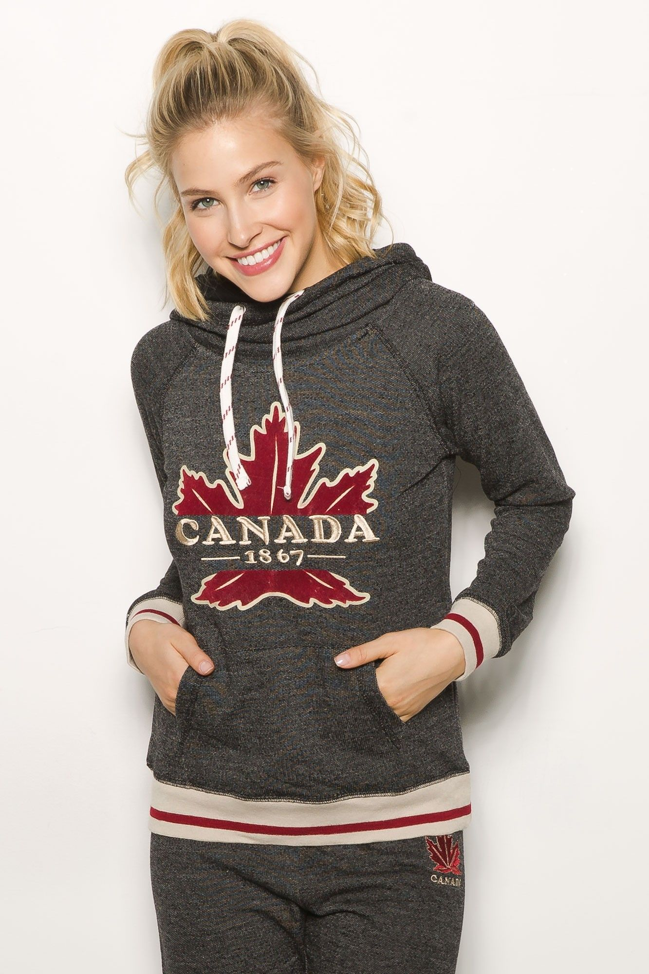 Girls Canada Camp Stripe Cowl Neck Popover Hoodie | Back to school ...