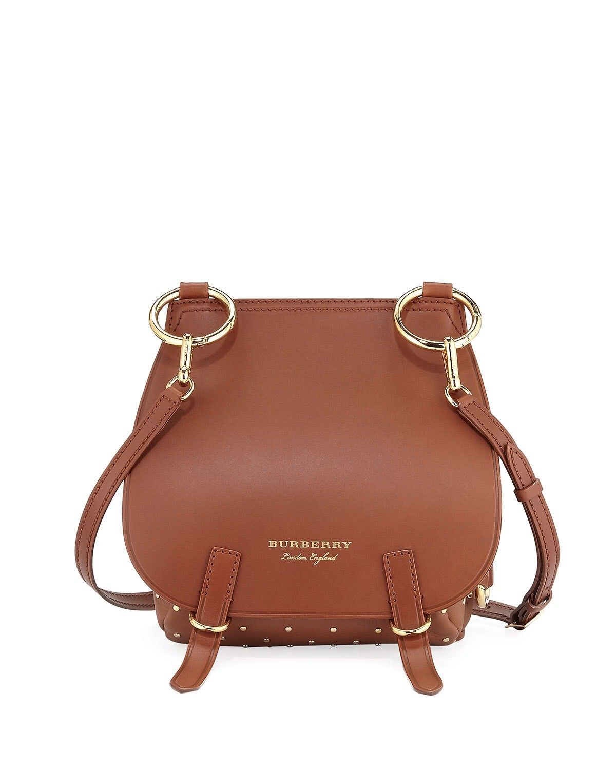 0891d33fd948 NWT Burberry Bridle Saddle Bag Tan Riveted Leather Gold Tone Hardware
