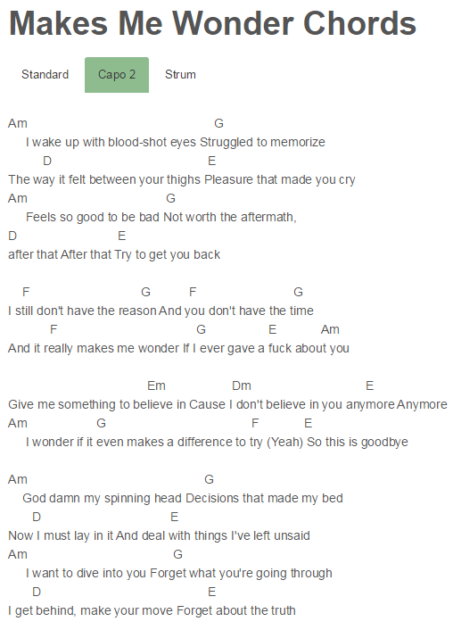 Makes Me Wonder Chords Maroon 5 | guitar stuff. | Pinterest ...