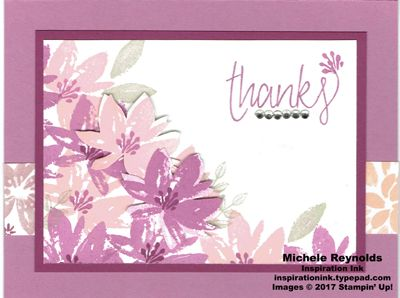 Avant Garden Side Flower Thanks card.  Uses Stampin' Up! products - Avant Garden Photopolymer Stamp Set, All Things Thanks Stamp Set, Rhinestone Basic Jewels, and Blooms & Bliss Designer Series Paper.  Directions and measurements on my blog.  By Michele Reynolds, Inspiration Ink.