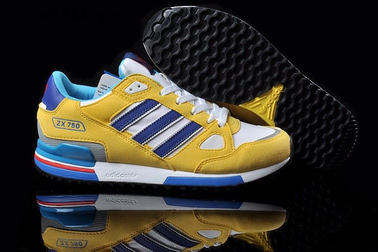 Unisex Adidas Originals ZX 750 running shoe Yellow/White/Royal Blue/Deep  sky blue sale shoes are great for use fast turn of acting Adidas running  shoes on ...
