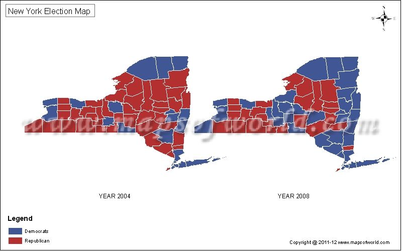 Who won the state of Newyork in 2004 2008 presidential