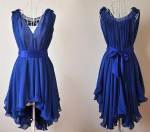 The beautiful blue! The flowiness! The V-neck! The sash with bow in the back! <3