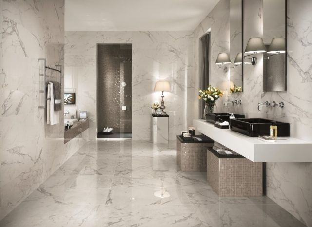 carrelage de salle de bains 57 ides pour les murs et le sol - Carrelage Mur Et Sol Salle De Bain