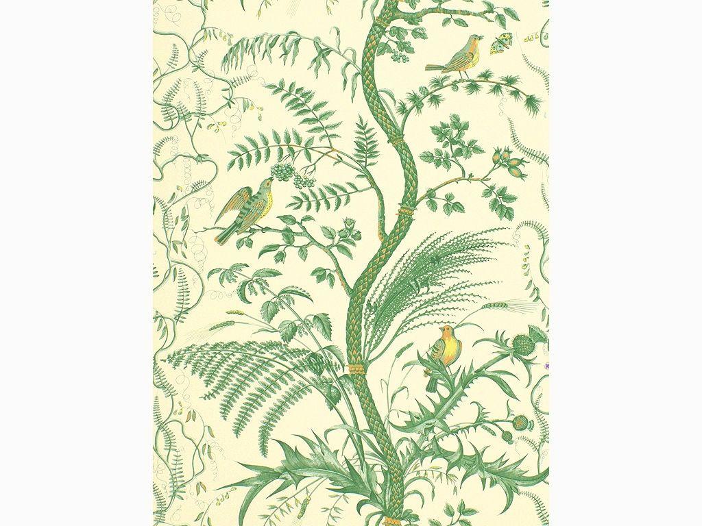 Brunschwig & Fils BIRD AND THISTLE Green wallpaper