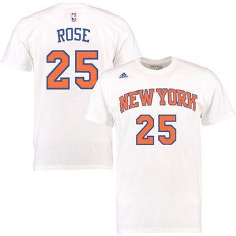 pretty nice 0b619 db682 adidas Derrick Rose New York Knicks White Net Number T-Shirt ...