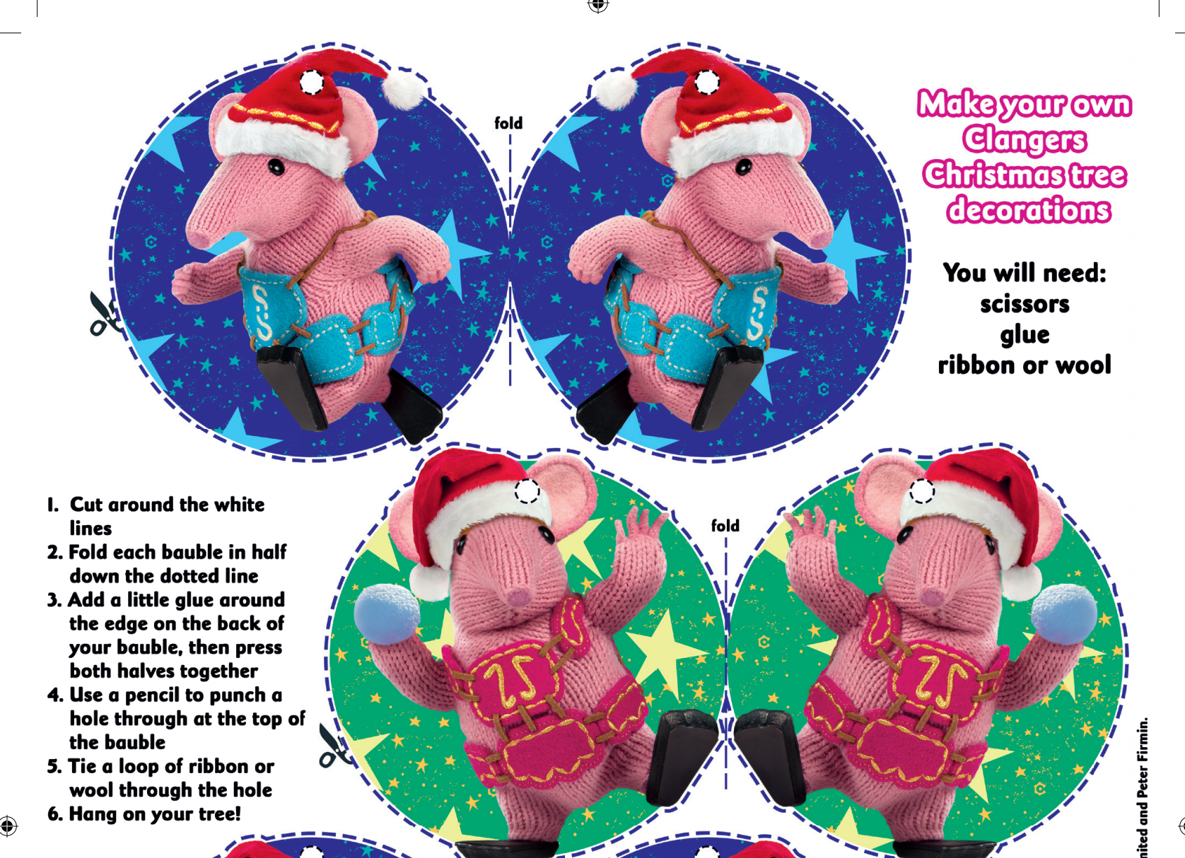 Make your own Clangers Christmas baubles for the Christmas Tree ...