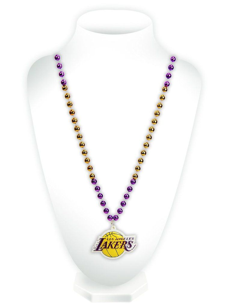 Los Angeles Lakers Mardi Gras Beads With Medallion Beaded
