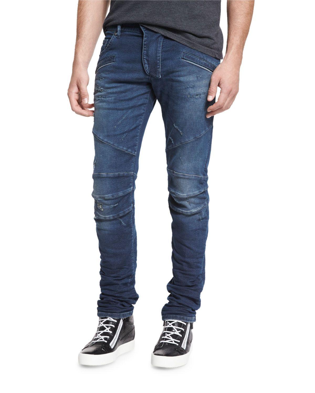Skinny-Fit Distressed Biker Denim Jeans, Blue