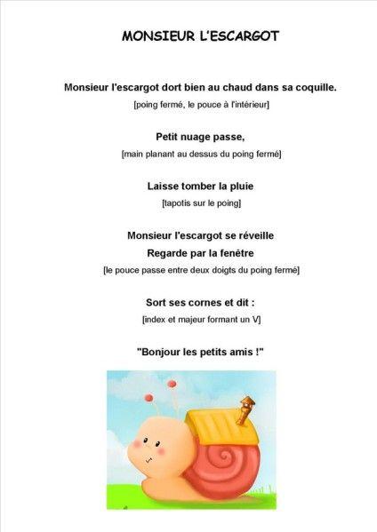 Best 25 comptine escargot ideas on pinterest comptine petit escargot escargot maternelle and - Escargot maternelle ...