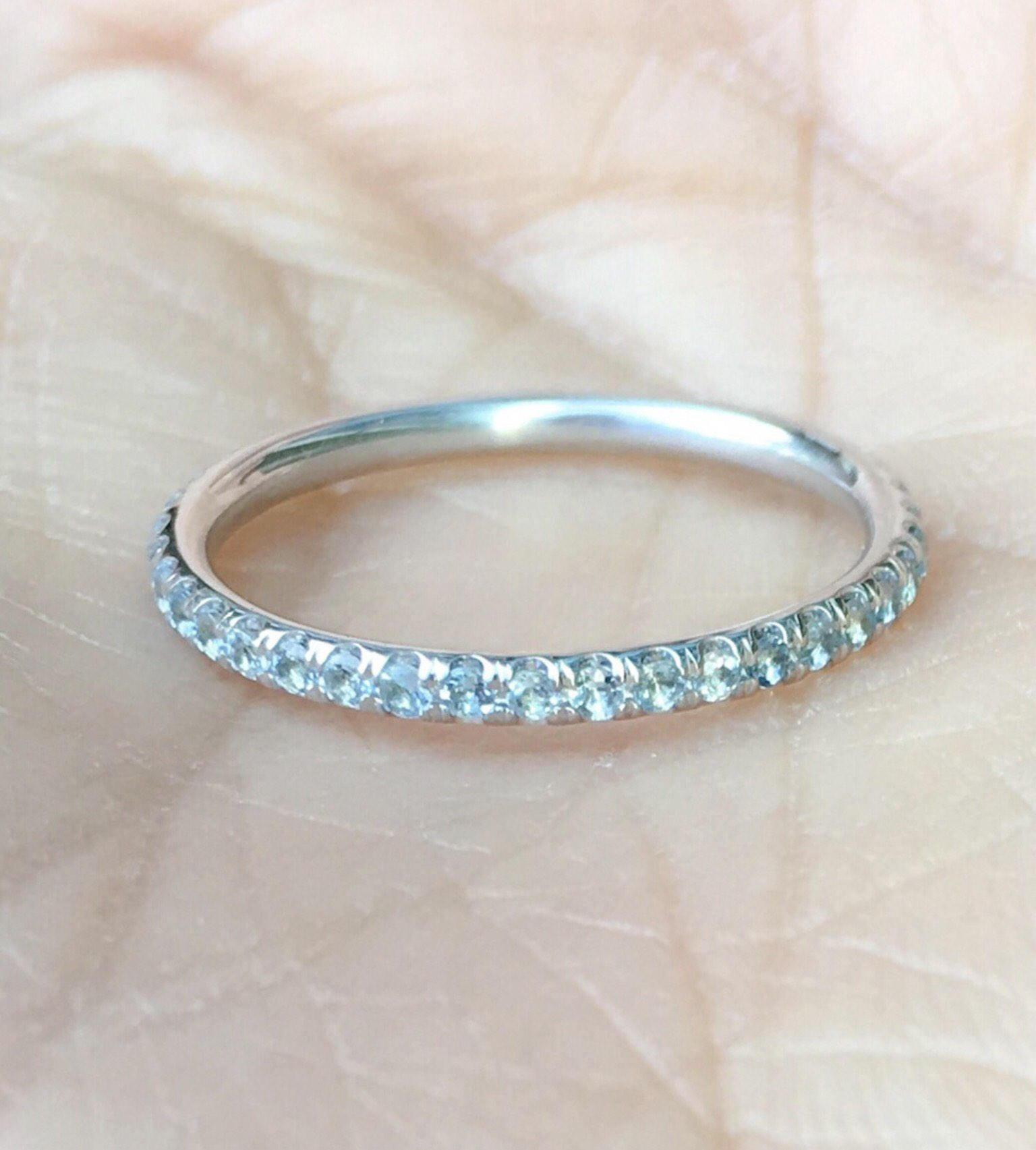 14k White Gold Finish Diamond Half Eternity Band Stackable Ring Wedding Band