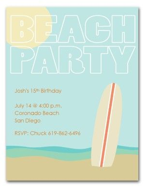 Surf Birthday Party Invitation Summer Beach Party Invitations Beach Birthday Invitations Surf Birthday Beach Party Invitations