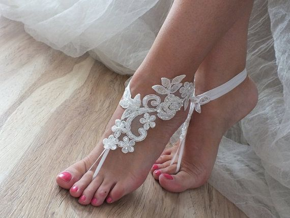 ccdcc63db Free ship ivory Beach wedding barefoot sandals shoes prom party bangle beach  anklets bangles bridal bride bridesmaid