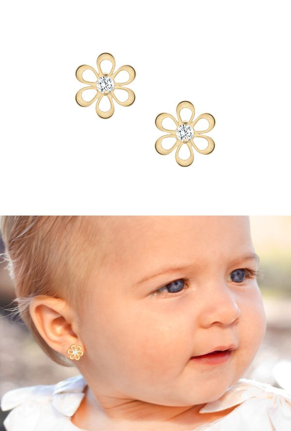 Flower Silhouette Baby Earrings In Solid 14k Gold