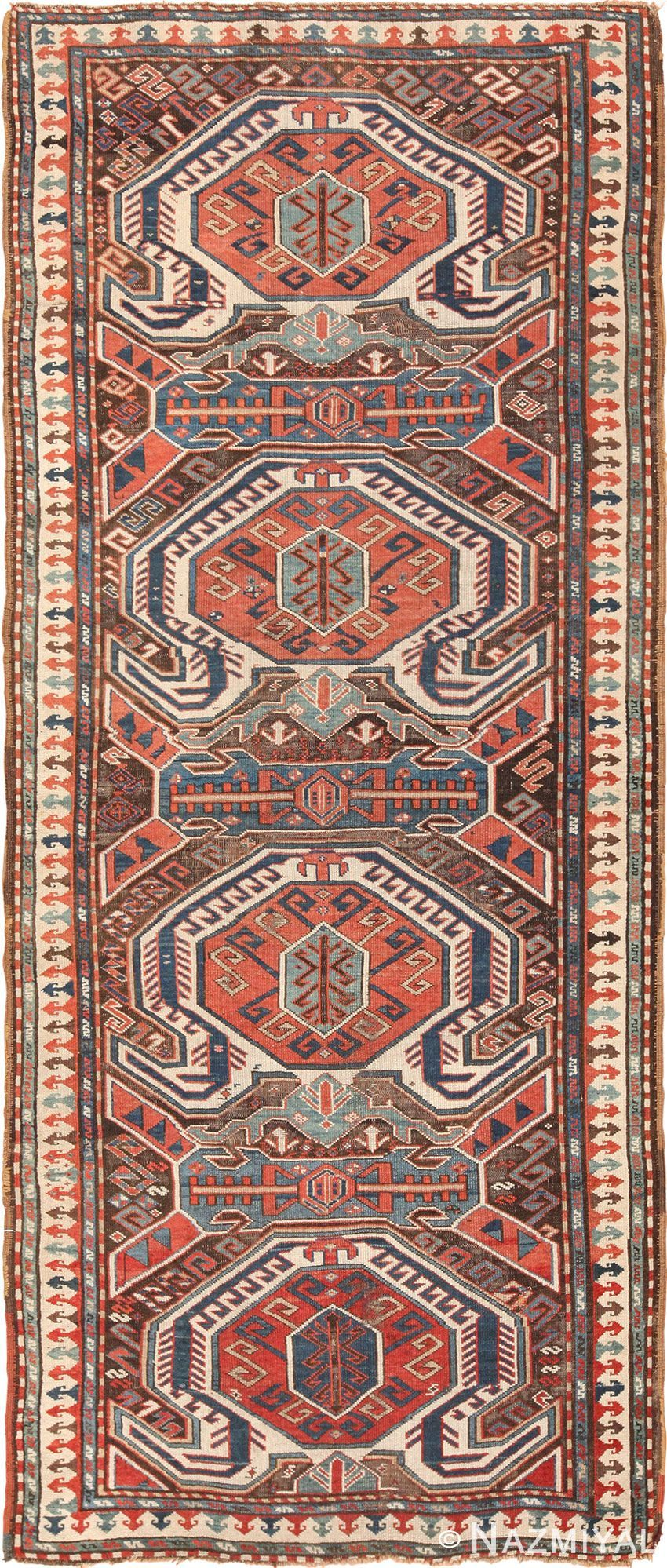 View This Beautiful Tribal Long And Narrow Antique Caucasian Turtle Kazak Rug 49644 Available For