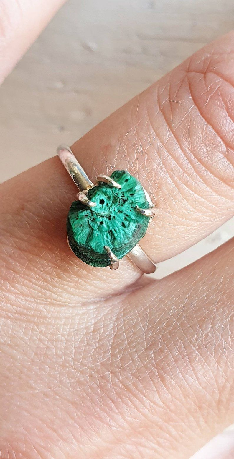 Raw Green Stone Band Ring Natural Gemstone Ring Healing Raw Ring Stylish Raw Ring Raw Malachite Ring Malachite Jewelry