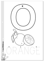 O is for Orange vowel tracing sheet and coloring page