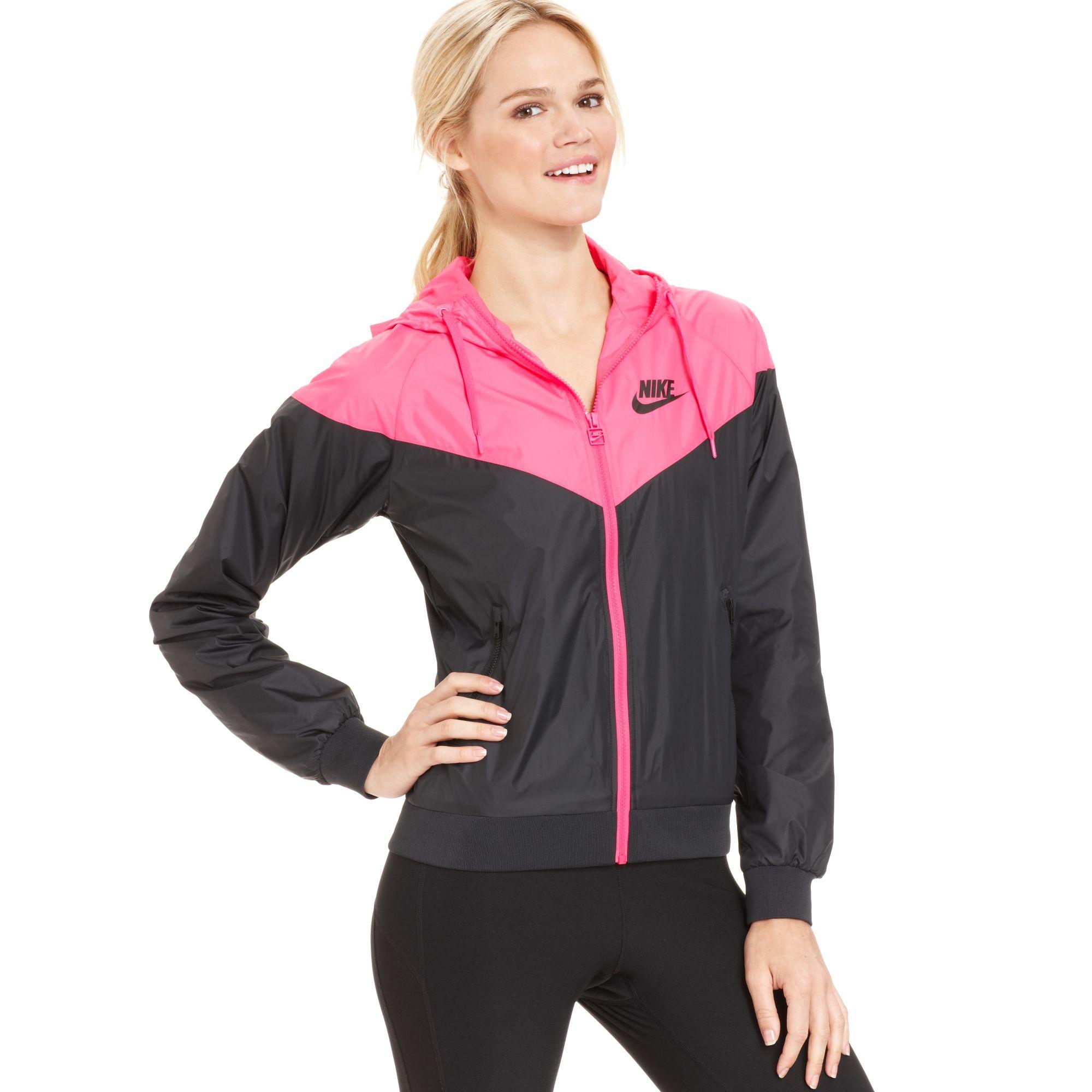 Nike - Pink Colorblocked Hooded Windrunner Jacket - Lyst