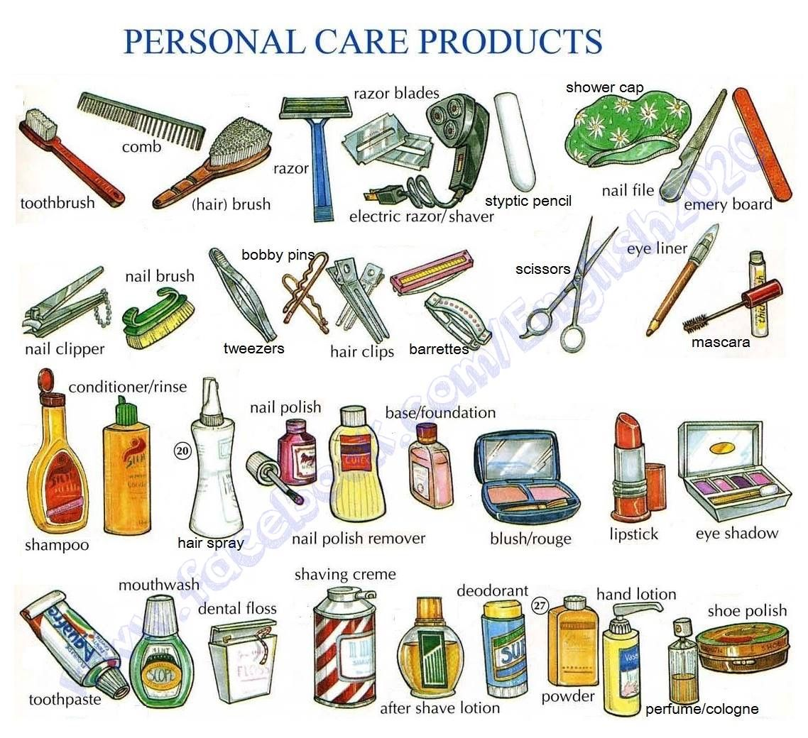 Vocabulary Personal Care Products