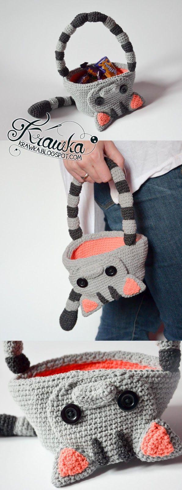 Krawka: Dead cat Halloween basket crochet pattern, candy bag ...