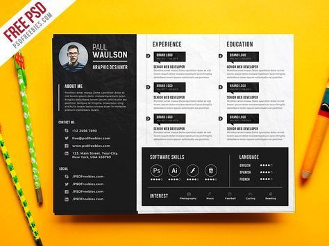 Download Free Creative Horizontal Cv Resume Template Psd This