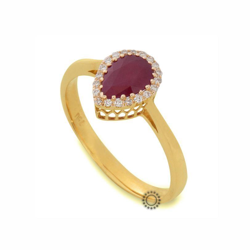 Κλασικό μονόπετρο δαχτυλίδι ροζέτα από Κ18 χρυσό με δάκρυ κόκκινο ρουμπίνι   amp  διαμάντια  586df018a07