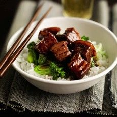 Hung Shao pork with steamed greens and fragrant rice - comes recommended by my sister!