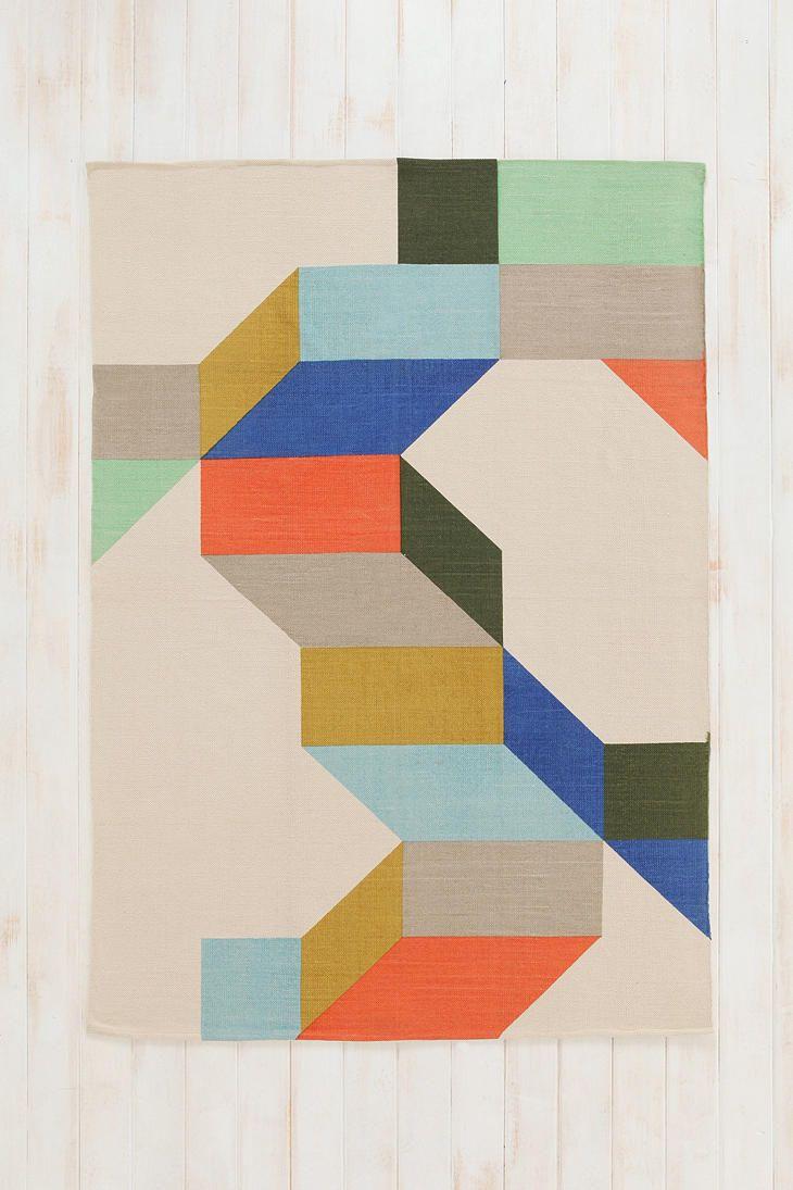 Assembly Home Complex Colorblock Printed Rug Boho Kids Room Geometric Rug Flat Woven Rug