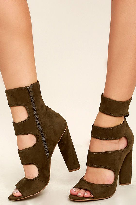 Steve Madden Tawnie Olive Green Suede Caged Heels