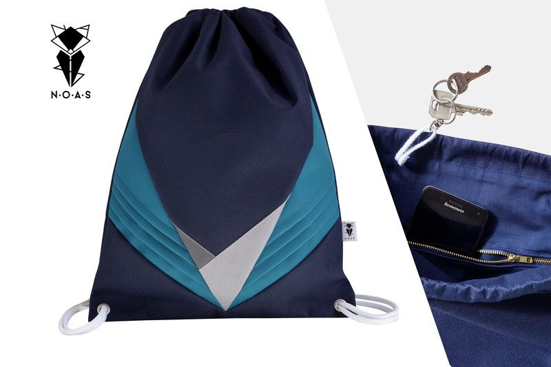 Turnbeutel - waterproof Festival Bag Blau Petrol zipper pocket - ein Designerstück von NOAS_Berlin bei DaWanda