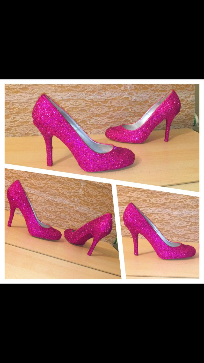 Womens Sparkly Glitter High Or Low Pumps Closed P Toe Heels Shoes Fuschia Hot Pink