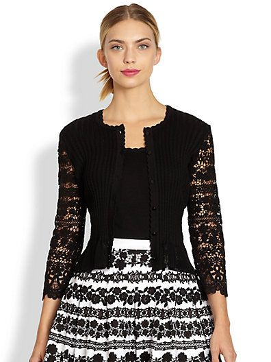 Oscar de la Renta black dressy cardigan with Lace sleeves | What ...