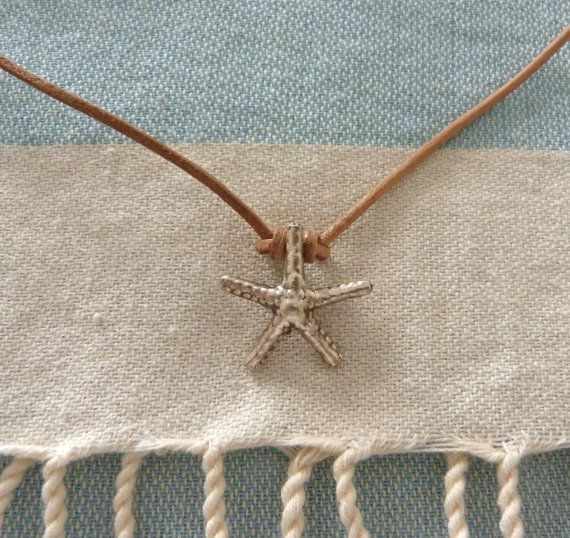 natural leather starfish necklace