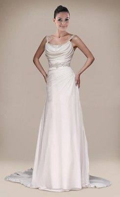 Draped Beaded A-line Chapel Train Straps Wedding Dress
