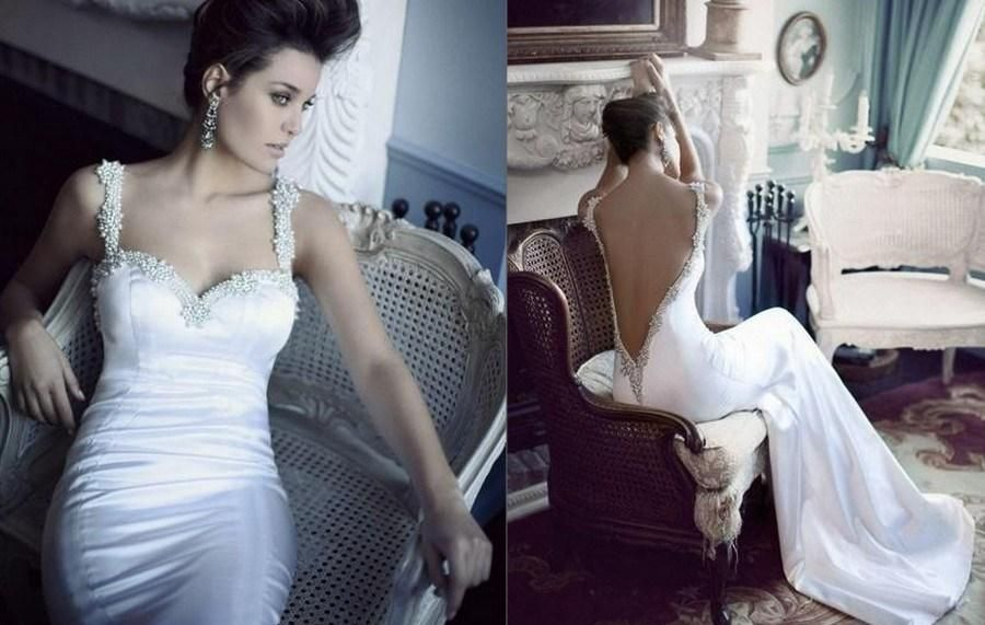 Berta Backless Sexy&Hot Mermaid Dresses Wedding With Beaded Pearls Spaghetti Straps 2015 Inspired Satin Bridal Gown Made In China #dhgatePin