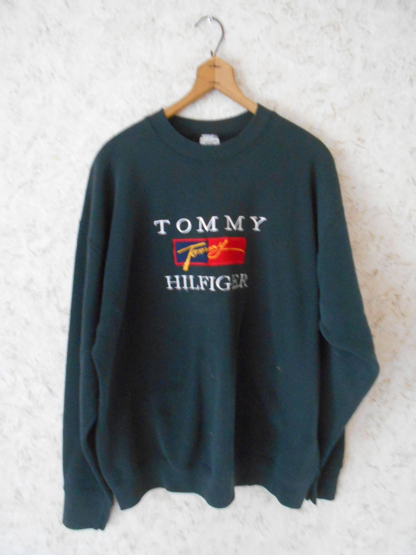 Vintage 90's Tommy Hilfiger Knit Sweater Big Logo smallmedium sweatshirt