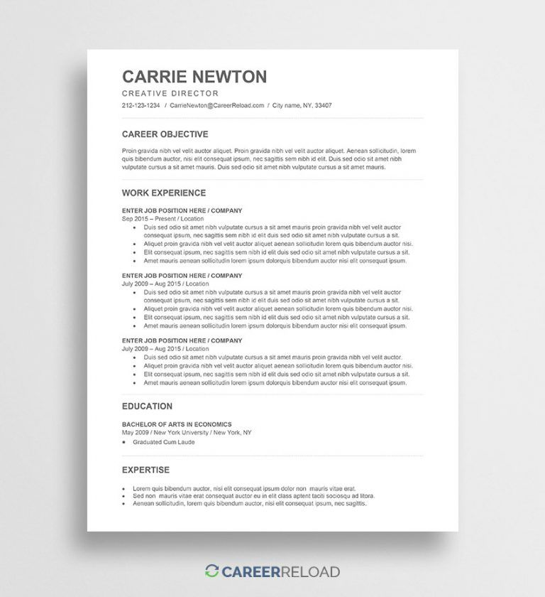 resume templates with word