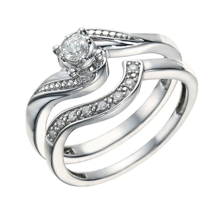 Argentium Silver 015ct Diamond Perfect Fit Bridal Set Bridal ring