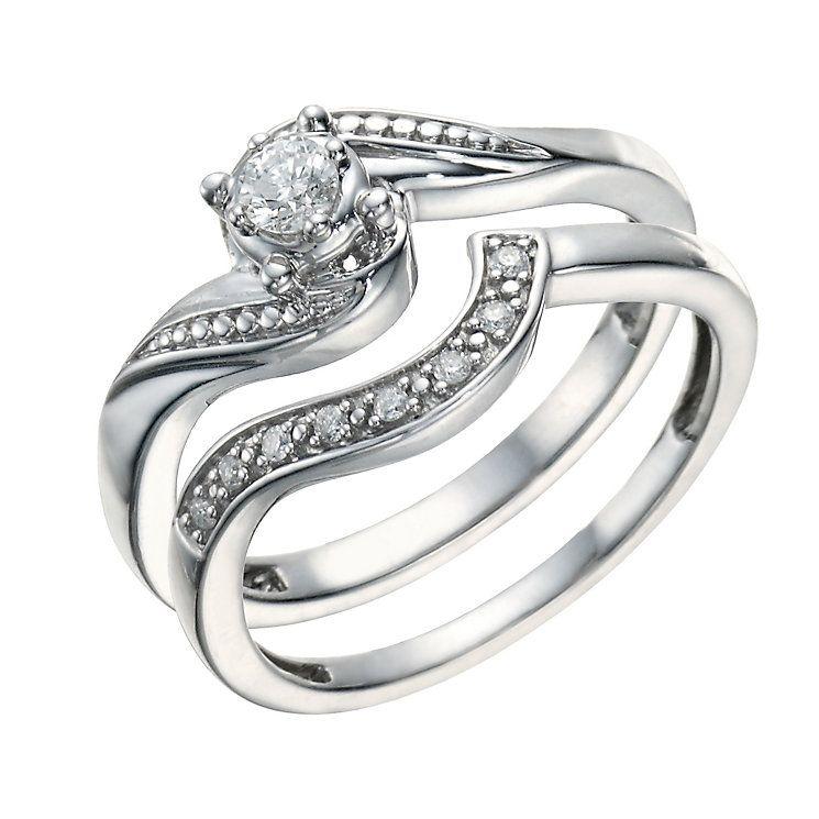 Argentium Silver 015 Carat Diamond Bridal Ring Set Product
