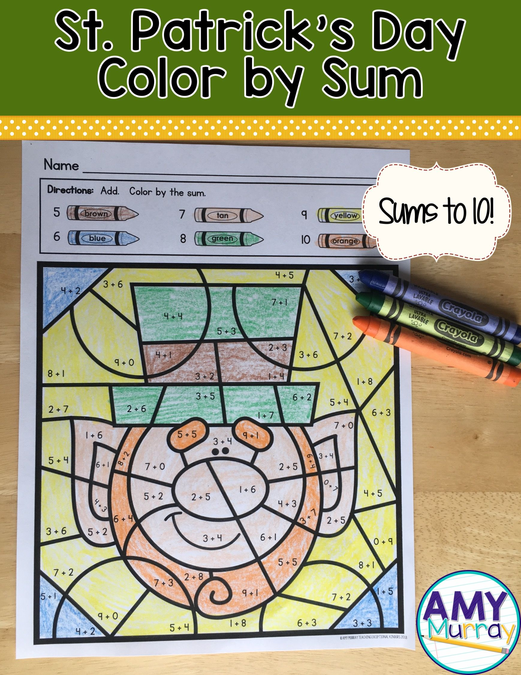 St Patricks Day Worksheets Color By The Code Kindergarten Math