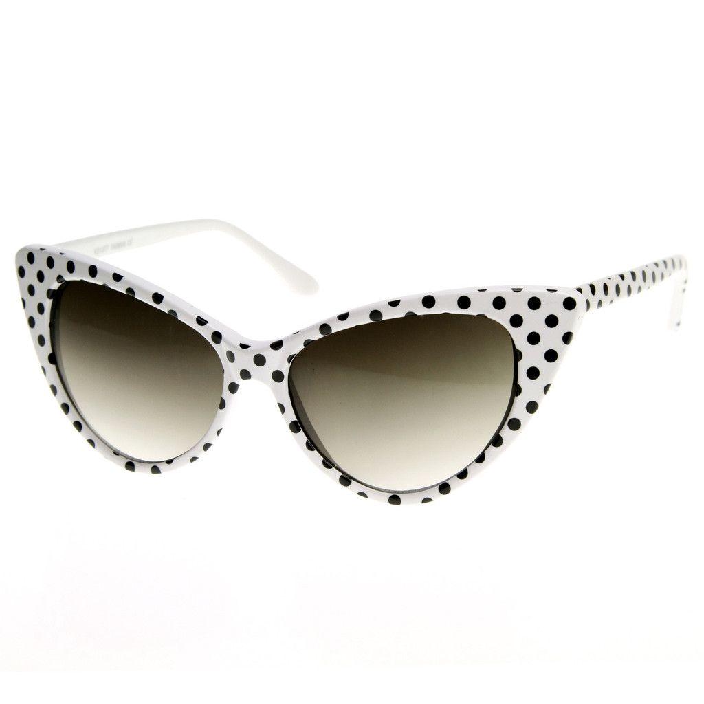 Retro 1950's Polka Dot Cat Eye Fashion Sunglasses 8498